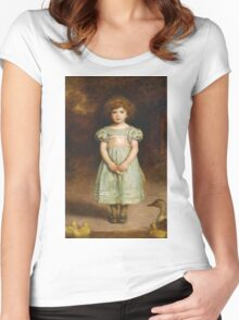 John Everett Millais - Ducklings 1889. Female child portrait: cute girl, girly, female, pretty angel, child, beautiful dress, face with hairs, smile, little, kids, baby Women's Fitted Scoop T-Shirt