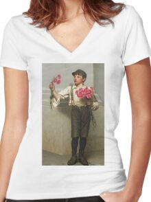John George Brown - Three For Five 1890. Child portrait: cute baby, kid, children, pretty angel, child, kids, lovely family, boys and girls, boy and girl, mom mum mammy mam, childhood Women's Fitted V-Neck T-Shirt
