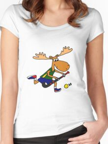 Funny Cool Moose Playing Field Hockey Cartoon Women's Fitted Scoop T-Shirt