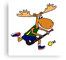 Funny Cool Moose Playing Field Hockey Cartoon Canvas Print