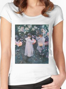 John Singer Sargent - Carnation, Lily, Lily, Rose. Girl portrait: cute girl, girly, female, pretty angel, child, beautiful dress, face with hairs, smile, little, kids, baby Women's Fitted Scoop T-Shirt