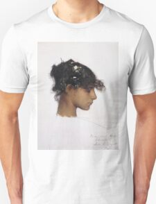 John Singer Sargent - Head Of A Capri Girl. Girl portrait: cute girl, girly, female, pretty angel, child, beautiful dress, face with hairs, smile, little, kids, baby Unisex T-Shirt
