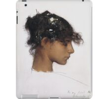 John Singer Sargent - Head Of A Capri Girl. Girl portrait: cute girl, girly, female, pretty angel, child, beautiful dress, face with hairs, smile, little, kids, baby iPad Case/Skin