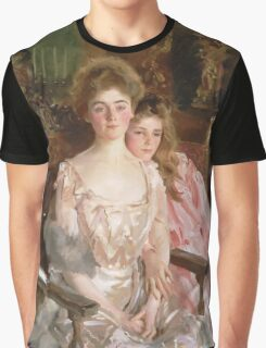 John Singer Sargent - Mrs. Fiske Warren And Her Daughter Rachel. Mother with kid portrait: cute girl, mother and daughter, female, pretty angel, child, lovely family, mothers day, memory, mom, baby Graphic T-Shirt