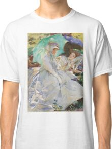 John Singer Sargent - Reading. Woman portrait: sensual woman, girly art, female style, pretty women, femine, beautiful dress, cute, creativity, love, sexy lady, erotic pose Classic T-Shirt