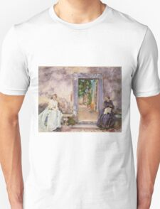 John Singer Sargent - The Garden Wall 1910. Woman portrait: sensual woman, girly art, female style, pretty women, femine, beautiful dress, cute, creativity, love, sexy lady, erotic pose Unisex T-Shirt
