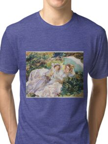 John Singer Sargent - The Tease 1911. Mother with kid portrait: cute girl, mother and daughter, female, pretty angel, child, beautiful dress, lovely family, mothers day, memory, mom mammy mam, baby Tri-blend T-Shirt