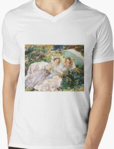 John Singer Sargent - The Tease 1911. Mother with kid portrait: cute girl, mother and daughter, female, pretty angel, child, beautiful dress, lovely family, mothers day, memory, mom mammy mam, baby Mens V-Neck T-Shirt