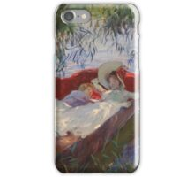John Singer Sargent - Lady And Child Asleep In A Punt Under The Willows. Mom with baby portrait: sensual woman, love relations, lovely couple, family, valentine's day, romance, female and male iPhone Case/Skin