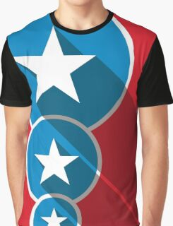 White Stars Blue Circles Red Field American Flag Inspired Graphic T-Shirt