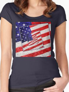 Patriotic American Flag Abstract Women's Fitted Scoop T-Shirt