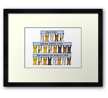 Cats celebrating a birthday on August 25th. Framed Print