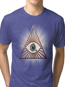 The eye that sees everything illuminati pyramids Tri-blend T-Shirt