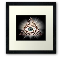 The eye that sees everything illuminati pyramids Framed Print