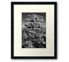 Marsden Rock Black and White Portrait Framed Print