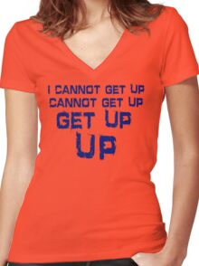 get up blue Women's Fitted V-Neck T-Shirt