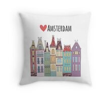 European houses in amsterdam Throw Pillow