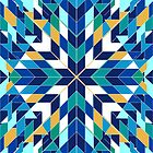 Triangles 2 abstract tribal blue pattern by mikath