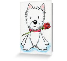 Westie holding rose delightfully cute! Greeting Card