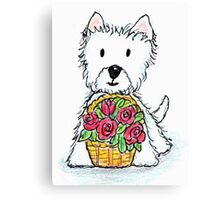 Westie basket of roses delightfully cute! Canvas Print
