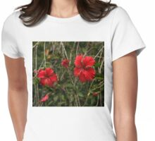 Chaotic Disarray of Red Hibiscus Flowers Womens Fitted T-Shirt