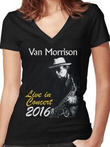 VAN MORRISON live concert 2016 Women's Fitted V-Neck T-Shirt