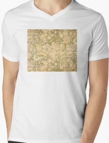 'Peonies' by Alphonse Mucha (Reproduction) Mens V-Neck T-Shirt