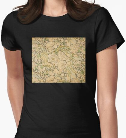 'Peonies' by Alphonse Mucha (Reproduction) Womens Fitted T-Shirt
