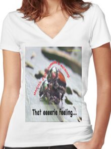 That eerie feeling someone is watching you… Women's Fitted V-Neck T-Shirt