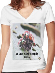 Is your name Google? Women's Fitted V-Neck T-Shirt