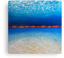 Orange Fish Blue Sea No.2 - a large contemporary orange and blue underwater painting in oil on canvas Canvas Print