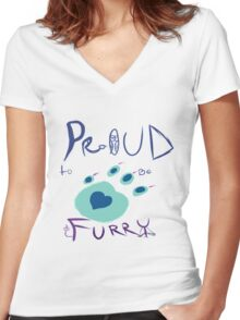 Proud To Be Furry Women's Fitted V-Neck T-Shirt