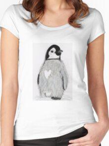 PENGUING HEART ART BIRTHDAY CHRISTMAS Women's Fitted Scoop T-Shirt