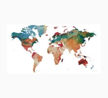 Map of The World 7 -Colorful Abstract Art One Piece - Short Sleeve