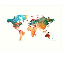 Map of The World 7 -Colorful Abstract Art Art Print