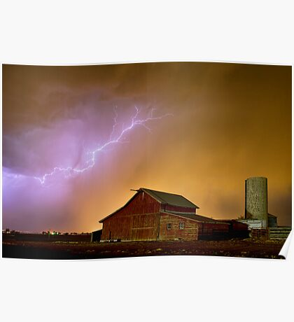 Watching The Storm From The Farm Poster