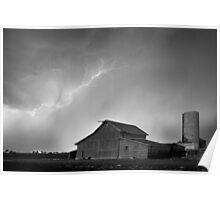 Watching The Storm From The Farm BW Poster