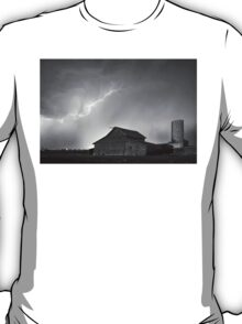 Watching The Storm From The Farm BW T-Shirt