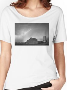 Watching The Storm From The Farm BW Women's Relaxed Fit T-Shirt