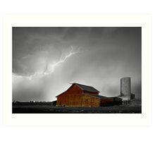 Watching The Storm From The Farm BWSC Art Print