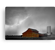 Watching The Storm From The Farm BWSC Metal Print