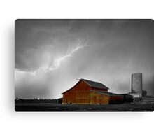 Watching The Storm From The Farm BWSC Canvas Print