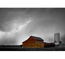 Watching The Storm From The Farm BWSC Photographic Print