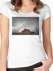 Watching The Storm From The Farm BWSC Women's Fitted Scoop T-Shirt