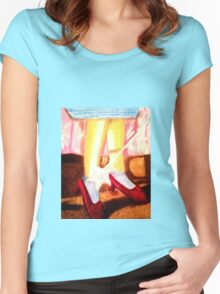 OZ RUBY SLIPPERS, THERE THEY ARE,  THERE THEY'LL STAY Women's Fitted Scoop T-Shirt