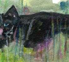 Black cat in grass Sticker