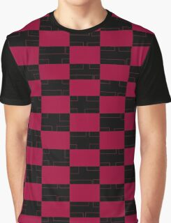 Burgandy/Raspberry & Black Graphic T-Shirt