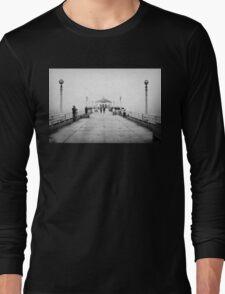 Manhattan Beach Pier In Black And White Long Sleeve T-Shirt