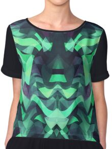 Abstract Surreal Chaos theory in Modern poison turquoise green Chiffon Top
