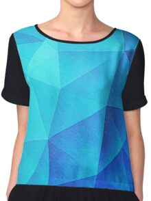Abstract Polygon Multi Color Cubizm Painting in ice blue Chiffon Top